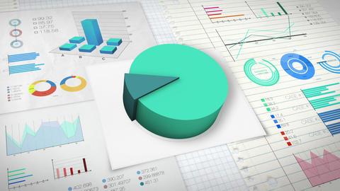 10 percent Pie chart with various economic finances graph version 2.(no text) Animation