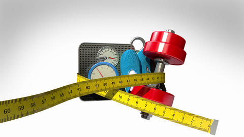 Measuring tape wrapped around Fitness, exercise equipment , Diet concept animati Animation