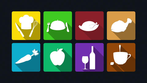 Dining icon animation: cooking,chicken. fish, vegetables, fruits, wine, coffee.1 Animation