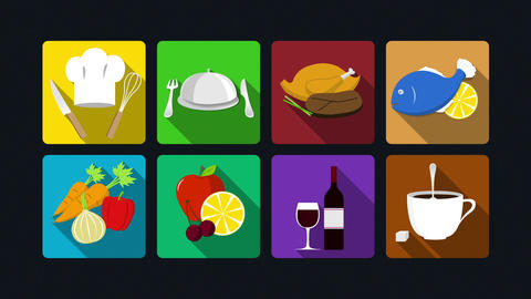 Dining icon animation: cooking,chicken. fish, vegetables, fruits, wine, coffee.2 Animation