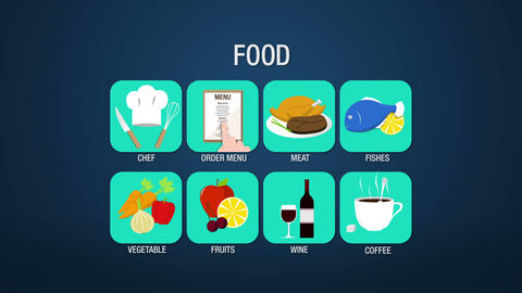 Food icon set animation, chef,order menu, meat, fishes, vegetable, fruit, wine,  Animation