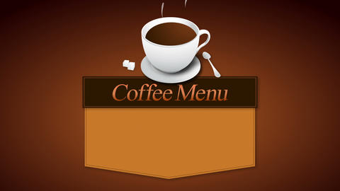 coffee menu board animation(included alpha) CG動画素材