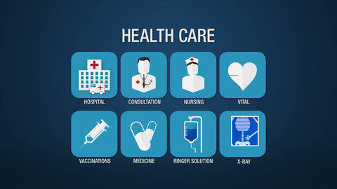 Health care icon set animation,hospital,consultation,nursing,vital,vaccinations, CG動画素材