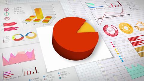 90 percent Pie chart with various economic finances graph.(no text) Animation