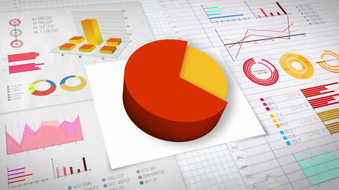 70 percent Pie chart with various economic finances graph.(no text) Animation