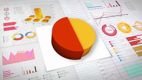 50 percent Pie chart with various economic finances graph.(no text) Animation