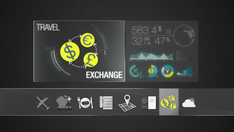Exchange currency icon for travel contents.Digital display application 애니메이션