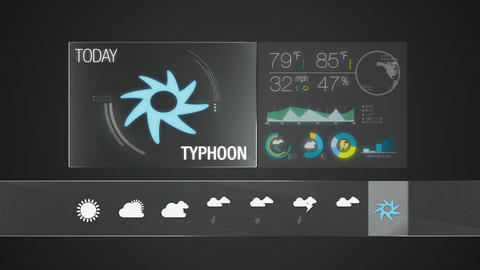 Typhoon icon, Weather forecast icon set animation Live Action