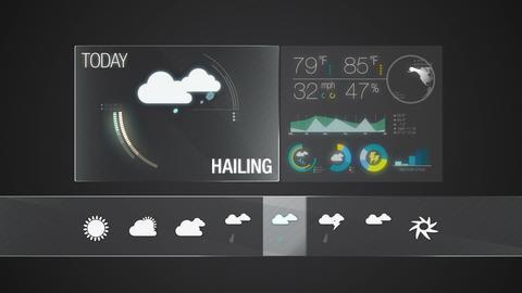 Hailing, Weather forecast icon set animation 실사 촬영