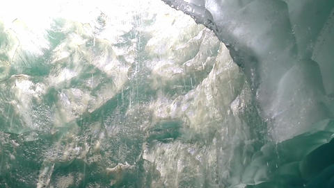 View inside an Ice Cave at Mendenhall Glacier Footage