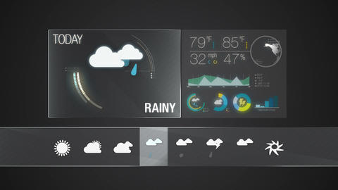 Rainy icon, Weather forecast icon set animation Footage