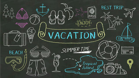 Handwriting concept of 'Vacation' at chalkboard and various icon 실사 촬영