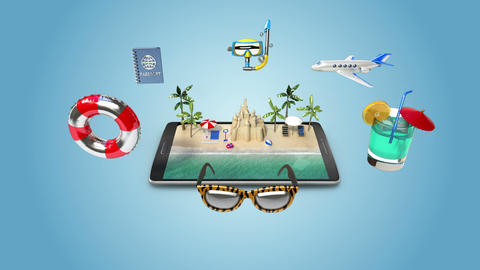 Planing travel to summer vacation, Mobile access online tour 실사 촬영