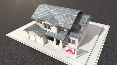 Architectural drawing changed three-dimensional house. and sold sign Footage