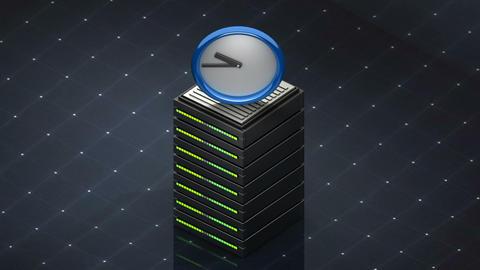 Database symbol and Watch. Database server web hosting icon 3D Footage