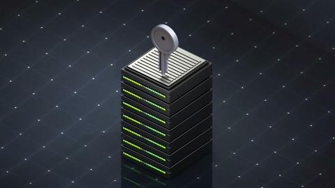 Database symbol and Key. Database server web hosting icon 3D Footage