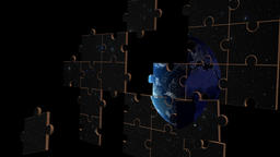 Jigsaw puzzle of earth in space Footage