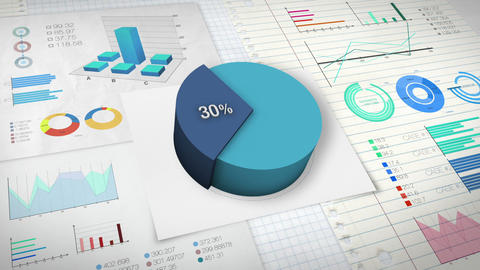 30 percent Pie chart with various economic finances graph Animation