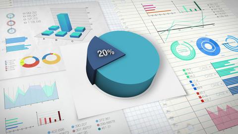 20 percent Pie chart with various economic finances graph Animation