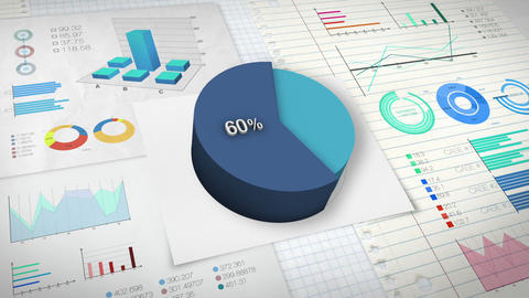 60 percent Pie chart with various economic finances graph Animation