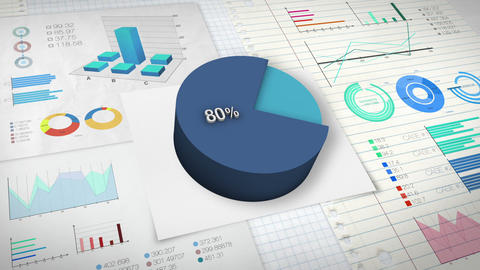 80 percent Pie chart with various economic finances graph Animation