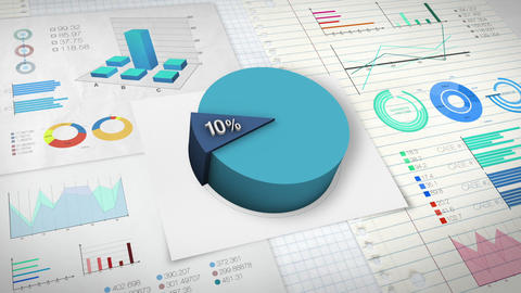 10 percent Pie chart with various economic finances graph Animation
