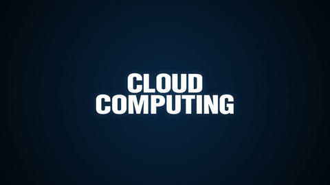 Mobile, Laptop, Server, Network, Database, Text animation 'CLOUD COMPUTING' 실사 촬영
