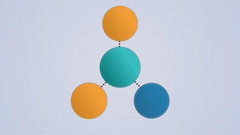 Circle diagram flow chart, 4 circle Animation