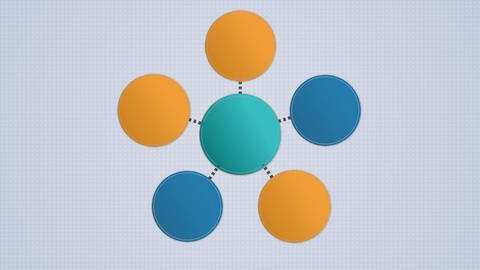 Circle diagram flow chart, 6 circle Animation
