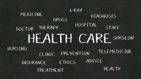 Handwriting concept of 'HEALTH CARE' at chalkboard Filmmaterial