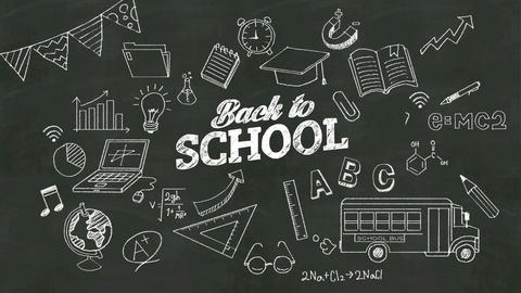 Handwriting concept of 'Back to school' at chalkboard. with various diagram.grap Footage