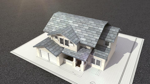Architectural drawing changed three-dimensional house Footage