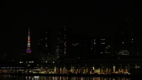 Japan's largest market, Tsukiji market./夜の築地市場。勝鬨橋から。 Footage
