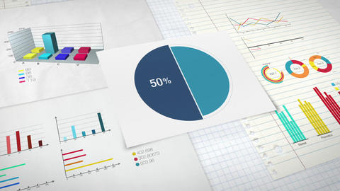Pie chart indicated 50 percent, Circle diagram for presentation version 1 Animation