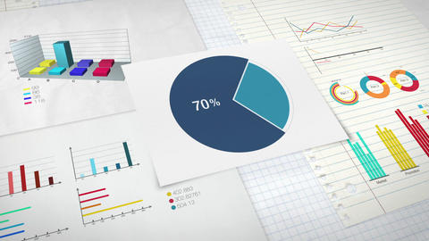 Pie chart indicated 70 percent, Circle diagram for presentation version 1 Animation