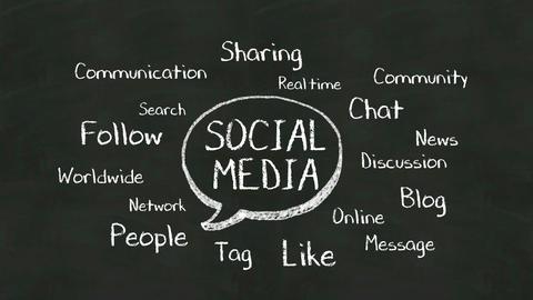 Handwriting concept of 'Social media' at chalkboard 실사 촬영