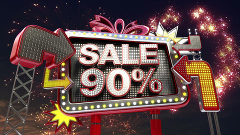 Sale sign 'SALE 90 percents' in led light billboard promotion Animation