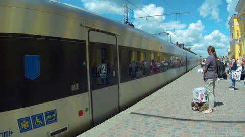 Kharkov, Ukraine - July 08, 2016: The intercity train Hyundai Rotem arrival to t Footage