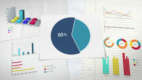 Pie chart indicated 60 percent, Circle diagram for presentation version 2 Animation