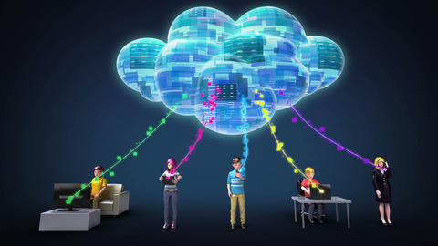 Cloud computing service connected people for using mobile device and PC 1 Footage