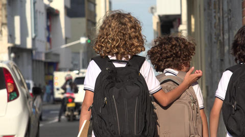 Elementary School Students Walking Stock Video Footage