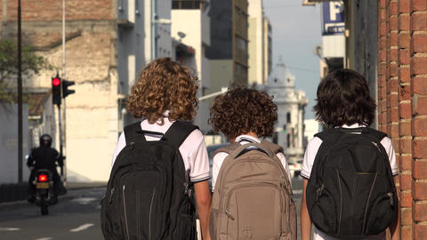 School Boys Students With Backpacks Footage
