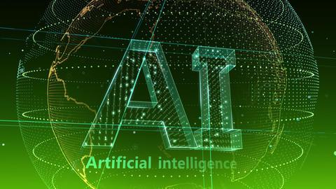 AI, artificial intelligence digital network technologies 19 1 Logo 5 F2 green 4k Animation