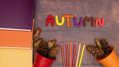 Autumn composition moving on the wooden table with autumn title - Stop motion animation Animation