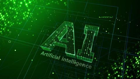 AI, artificial intelligence digital network technologies 19 1 Logo 3 N2 green 4k Animation