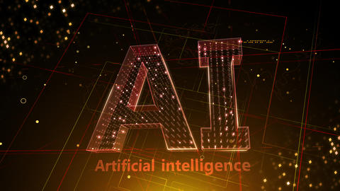 AI, artificial intelligence digital network technologies 19 1 Logo 3 F2 red 4k Animation