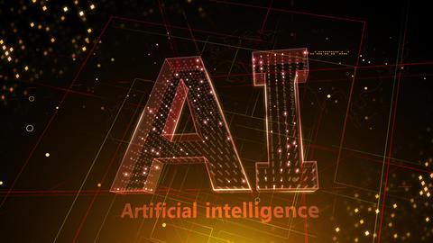 AI, artificial intelligence digital network technologies 19 1 Logo 3 F2 red 4k CG動画