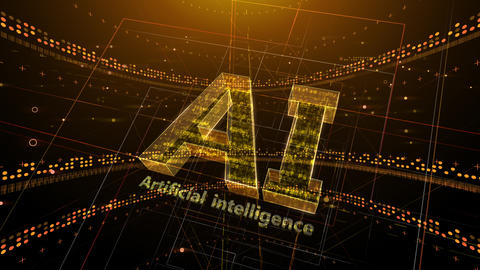 AI, artificial intelligence digital network technologies 19 1 Logo 2 N1 red 4k Animation