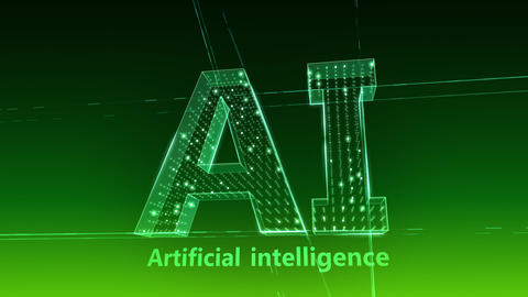 AI, artificial intelligence digital network technologies 19 1 Logo 1 F2 green 4k Videos animados
