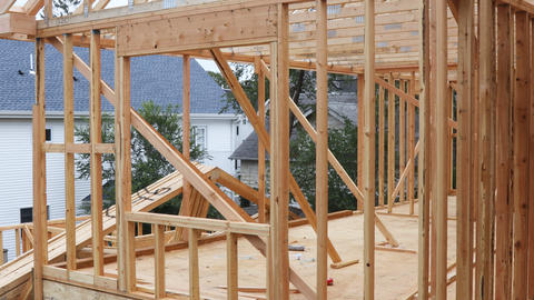 Interior framing of a new house under construction Live Action